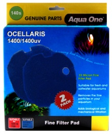 NEW ** Aqua One (140s) Blue Sponge Pad for Ocellaris 1400 / 1400UV - (2 pack)