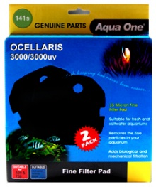 NEW ** Aqua One (141s) Black Sponge Pad for Ocellaris 3000 / 3000UV- (2 pack)