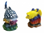 Aqua One Mini Blue Whale & Yellow Box Fish Aquarium Ornament (2 Pack)