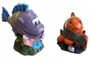 Aqua One Mini No Fishing Clown Fish & Purple Grouper Aquarium Ornament (2 Pack)