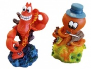 Aqua One Mini Lobster &  Violin Playing Octopus Aquarium Ornament (2 Pack)